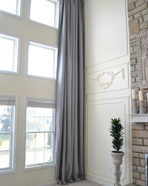 Faux Linen Darkening Curtain Extra Long Custom Made, Grommets 12 17 18 20  24 Ft Gray Brown Beige Blue Off White 2 Story Drapes Free Swatch With Regard To Faux Linen Extra Wide Blackout Curtains (View 26 of 50)