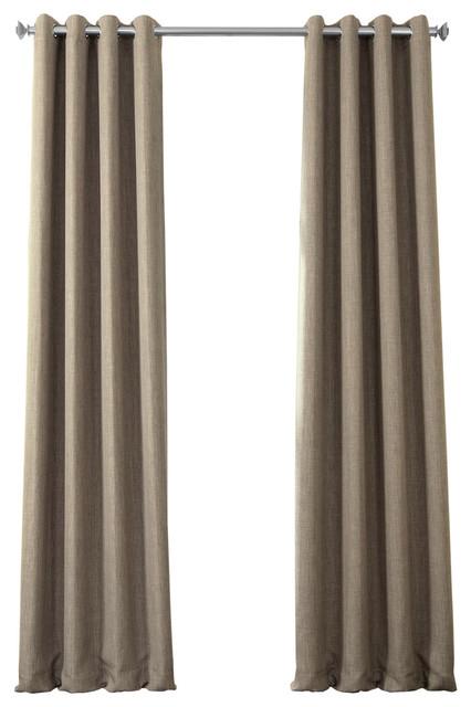 """Faux Linen Grommet Blackout Curtain Single Panel, Mink, 50""""x120"""" Pertaining To Faux Linen Blackout Curtains (#22 of 50)"""