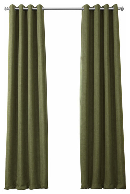 """Faux Linen Grommet Blackout Curtain Single Panel, Tuscany Green, 50""""x120"""" Inside Faux Linen Blackout Curtains (#23 of 50)"""