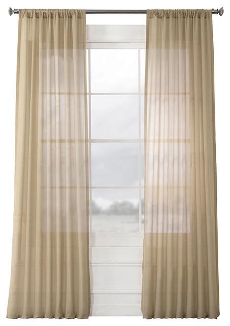 "Faux Linen Sheer Curtain Single Panel, Raffia Tan, 50""x96"" In Ombre Faux Linen Semi Sheer Curtains (#18 of 50)"
