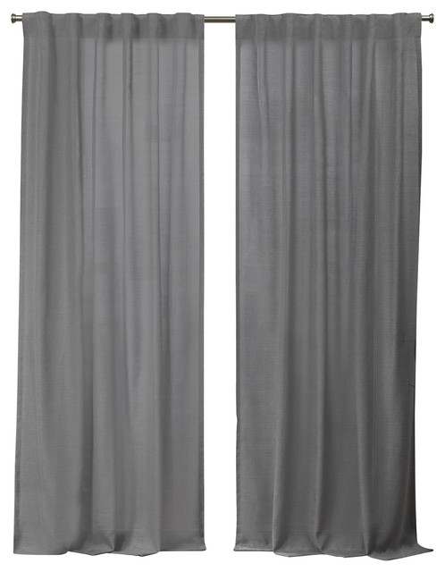 "Faux Linen Slub Hidden Tab Top Curtain Panels, Set Of 2, Black Pearl,  54""x84"" For Knotted Tab Top Window Curtain Panel Pairs (#13 of 50)"