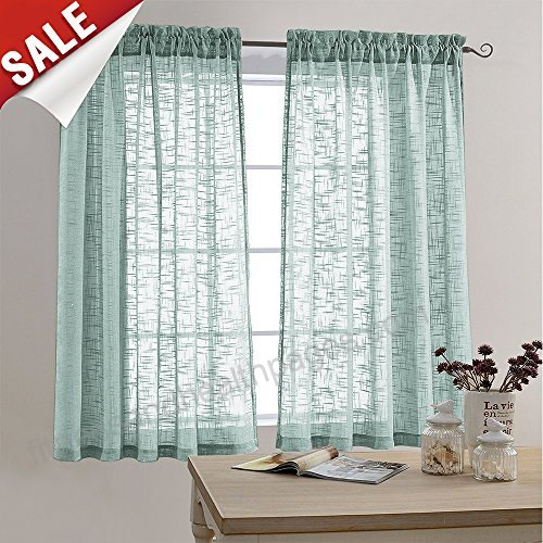 Faux Linen Textured Sheer Curtains Rod Pocket Sheer Curtain In Andorra Watercolor Floral Textured Sheer Single Curtain Panels (View 15 of 46)