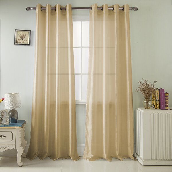 Faux Silk Curtains | Wayfair In Ofloral Embroidered Faux Silk Window Curtain Panels (View 28 of 50)