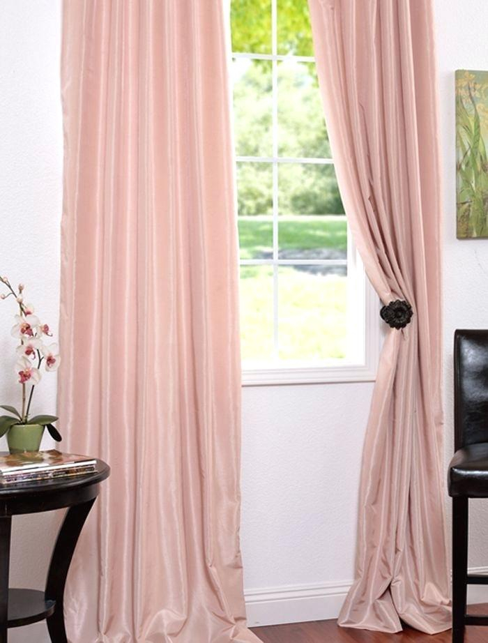 Faux Silk Drapes Rose Blush Vintage Textured Curtains Room With Regard To Silver Vintage Faux Textured Silk Curtain Panels (View 38 of 50)