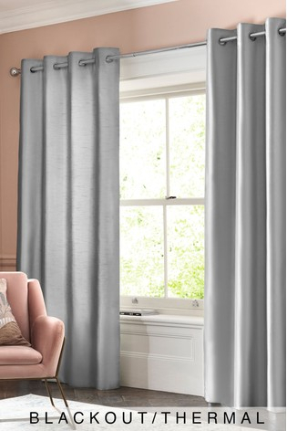 Faux Silk Eyelet Blackout/thermal Curtains With Regard To Faux Silk Extra Wide Blackout Single Curtain Panels (View 31 of 50)