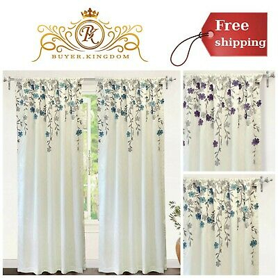 Faux Silk Flower Embroidered Window Curtain Lined With Inside Ofloral Embroidered Faux Silk Window Curtain Panels (View 5 of 50)