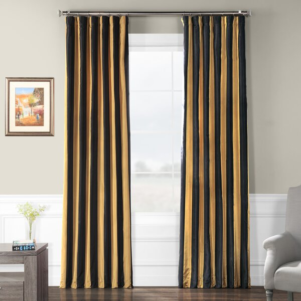 Faux Silk Taffeta Curtains | Wayfair Pertaining To Ofloral Embroidered Faux Silk Window Curtain Panels (View 17 of 50)