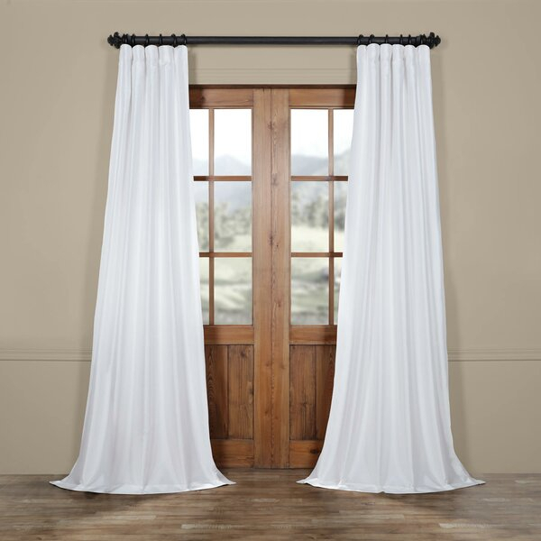 Faux Silk White Curtains | Wayfair Throughout Evelina Faux Dupioni Silk Extreme Blackout Back Tab Curtain Panels (View 24 of 33)