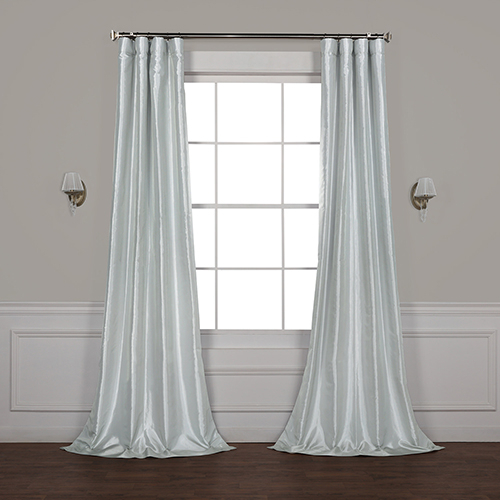 Feather Grey 84 X 50 Inch Blackout Faux Silk Taffeta Curtain Single Panel For Faux Silk Taffeta Solid Blackout Single Curtain Panels (View 25 of 50)
