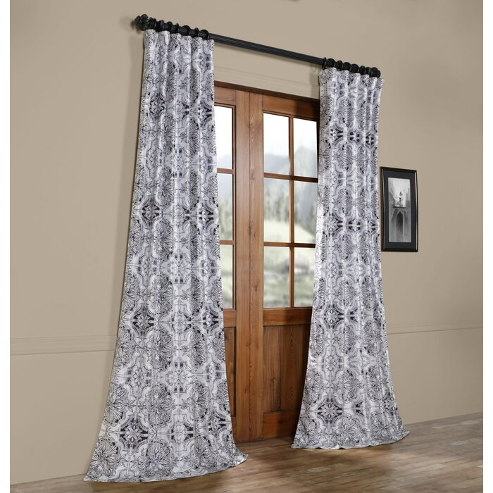 Fegley Printed Taffeta Faux Silk Blackout Indoor Single Curtain Panel With Regard To Faux Silk Taffeta Solid Blackout Single Curtain Panels (View 26 of 50)