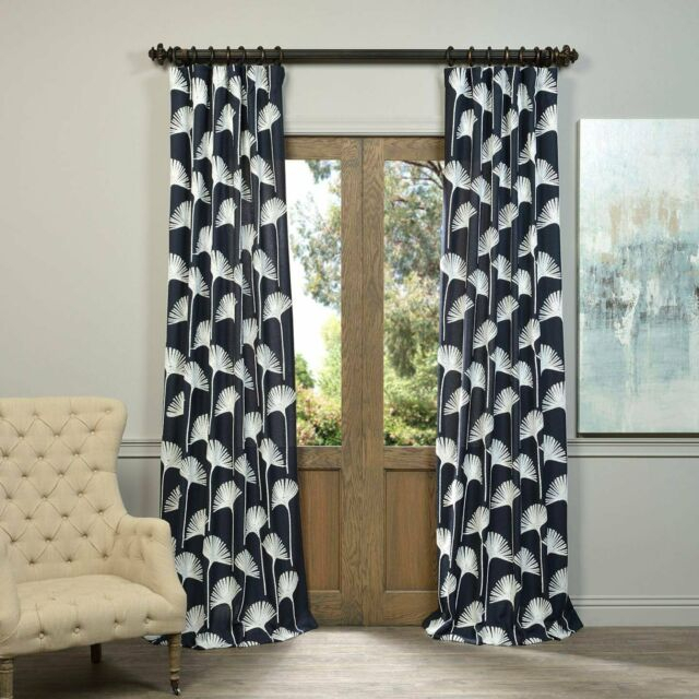 "Felch Slwe3955B 108 Embroidered Faux Linen Sheer Curtain, Plume Navy, 50"" X 108"" With Regard To Ombre Faux Linen Semi Sheer Curtains (View 12 of 50)"
