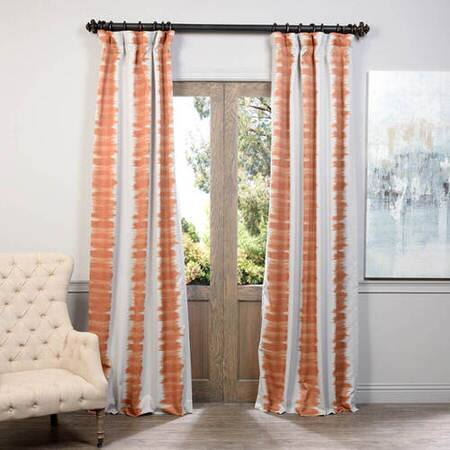 Flambe Orange Blackout Curtain – Taffeta Blackout Curtain In Montpellier Striped Linen Sheer Curtains (#24 of 50)