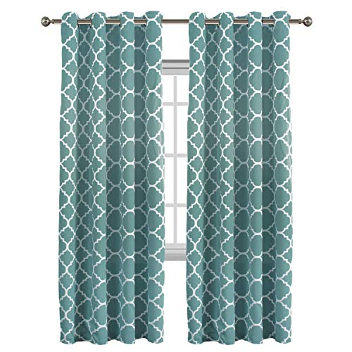 Flamingo P Light Blocking Moroccan Insulated Blackout Drapes Printed Window Curtains For Living Room, Grommet Top, Teal Set Of Two Panels, Each 84 Intended For Moroccan Style Thermal Insulated Blackout Curtain Panel Pairs (View 32 of 50)