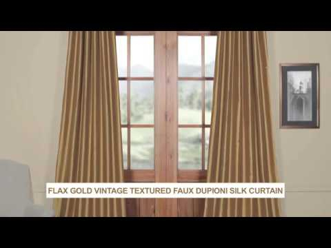 Flax Gold Vintage Textured Faux Dupioni Silk Curtain In Vintage Faux Textured Dupioni Silk Curtain Panels (#38 of 50)