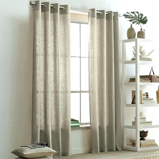 Flax Linen Curtains Cotton Grommet Curtain West Elm Panels With Belgian Sheer Window Curtain Panel Pairs With Rod Pocket (View 29 of 46)