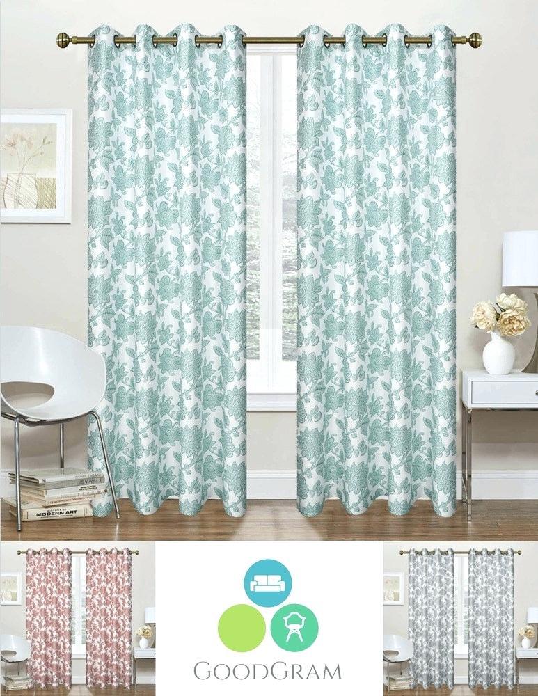 Floral Curtain Panels – Newportvtwx With Regard To Pastel Damask Printed Room Darkening Grommet Window Curtain Panel Pairs (#23 of 50)