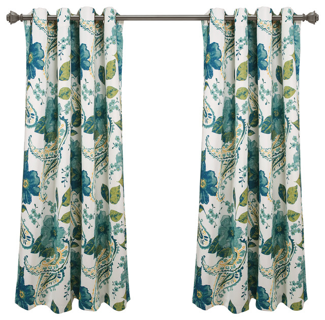 Floral Paisley Room Darkening Window Curtain Panels Blue 52X63 Set For Rowley Birds Room Darkening Curtain Panel Pairs (View 49 of 49)