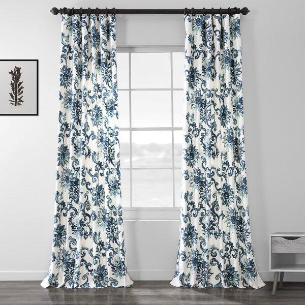 Floral Print Curtains   Wayfair Inside Pastel Damask Printed Room Darkening Grommet Window Curtain Panel Pairs (#24 of 50)