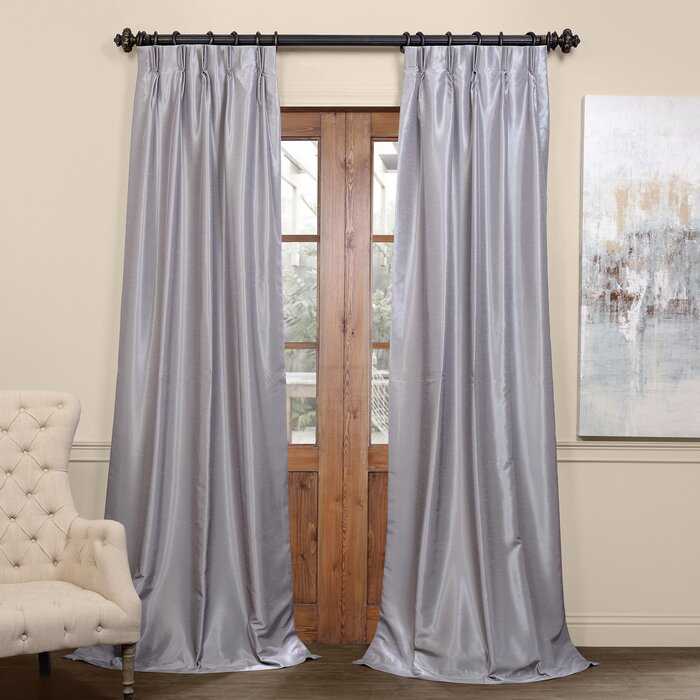 Forbell Solid Blackout Vintage Textured Faux Dupioni Thermal Pinch Pleat Single Curtain Panel Throughout Storm Grey Vintage Faux Textured Dupioni Single Silk Curtain Panels (View 16 of 50)