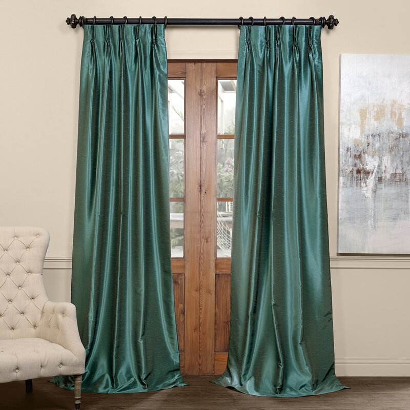 Forbell Solid Blackout Vintage Textured Faux Dupioni Thermal Pinch Pleat  Single Curtain Panel With Regard To Vintage Textured Faux Dupioni Silk Curtain Panels (#34 of 50)