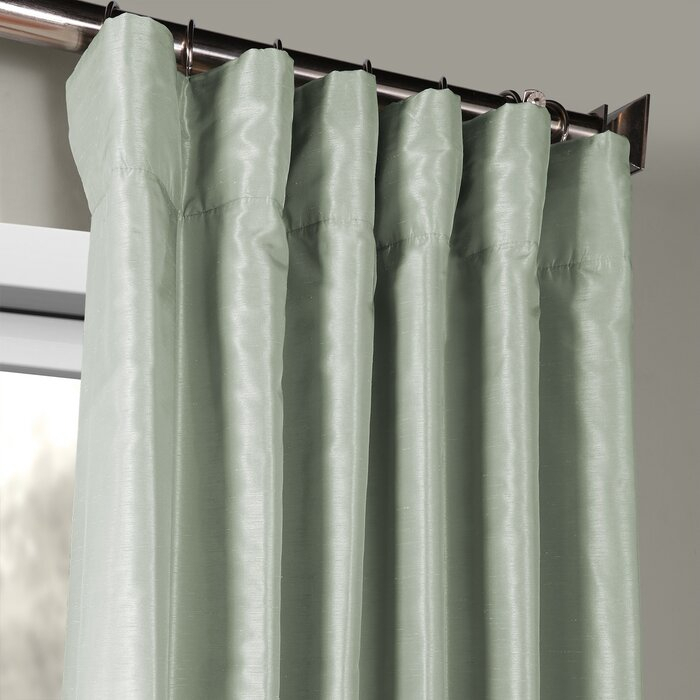 Forbell Solid Vintage Textured Faux Dupioni Silk Rod Pocket Single Curtain  Panel Inside Vintage Textured Faux Dupioni Silk Curtain Panels (#35 of 50)