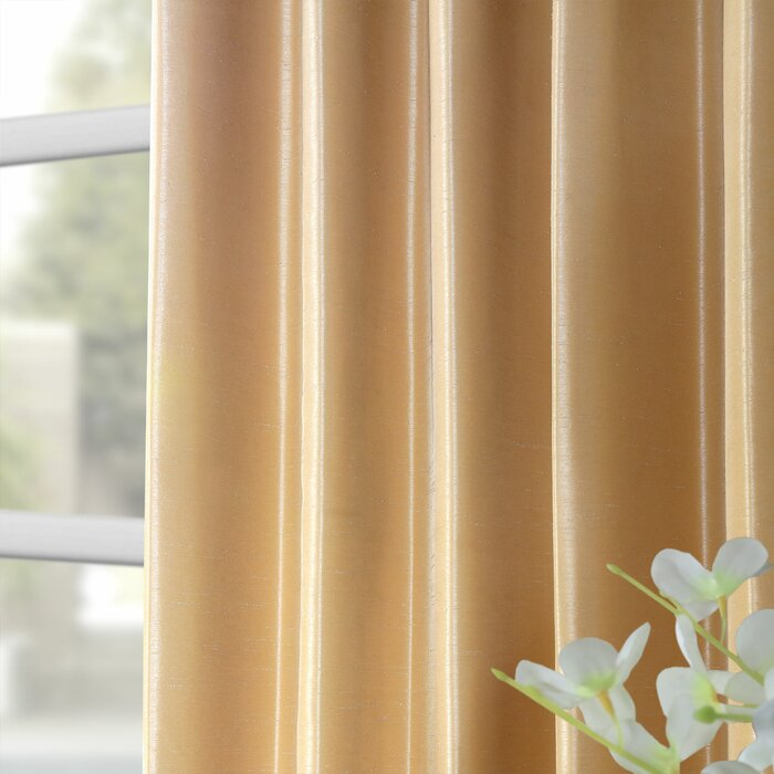 Forbell Solid Vintage Textured Faux Dupioni Silk Rod Pocket Single Curtain  Panel With Regard To Vintage Faux Textured Dupioni Silk Curtain Panels (#43 of 50)
