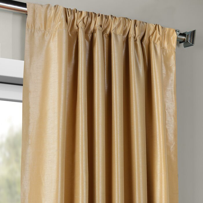 Forbell Solid Vintage Textured Faux Dupioni Silk Room Darkening Rod Pocket  Curtains Throughout Vintage Textured Faux Dupioni Silk Curtain Panels (#37 of 50)