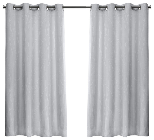 Popular Photo of Forest Hill Woven Blackout Grommet Top Curtain Panel Pairs
