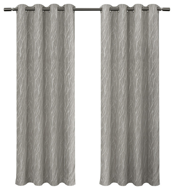 "Forest Hill Woven Room Darkening Grommet Curtain Panels, Ash Grey, 54""x84"" With Regard To Forest Hill Woven Blackout Grommet Top Curtain Panel Pairs (#19 of 45)"
