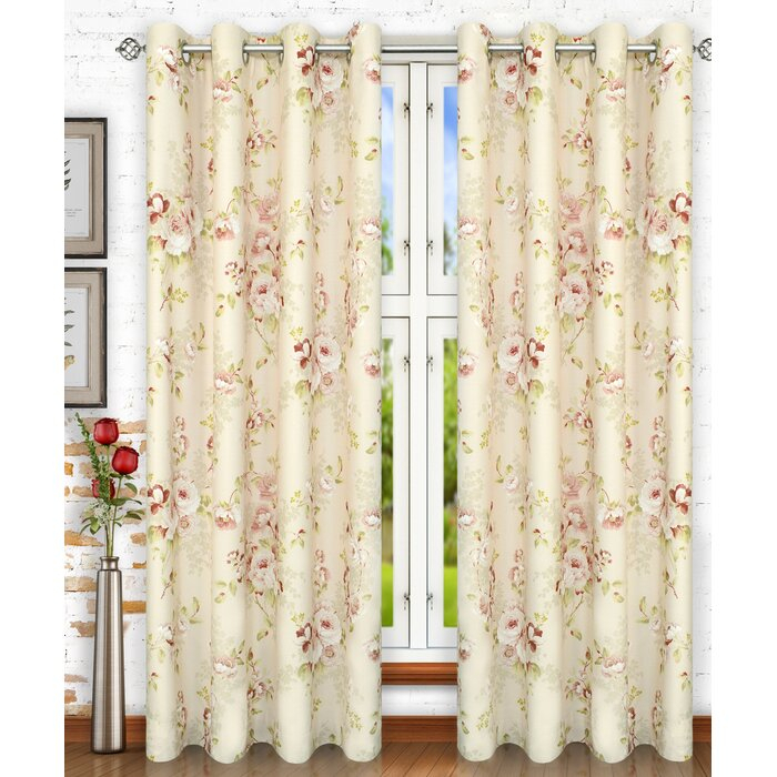 Forres Lined Top Nature/floral Semi Sheer Grommet Single Curtain Panel With Lined Grommet Curtain Panels (#13 of 31)