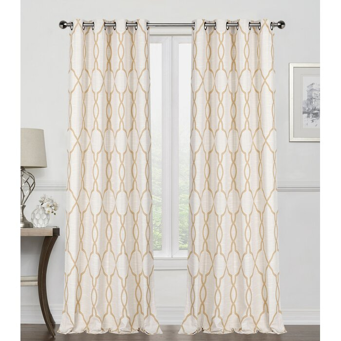 France Reversible Geometric Room Darkening Thermal Grommet Curtain Panels With Pastel Damask Printed Room Darkening Grommet Window Curtain Panel Pairs (#26 of 50)