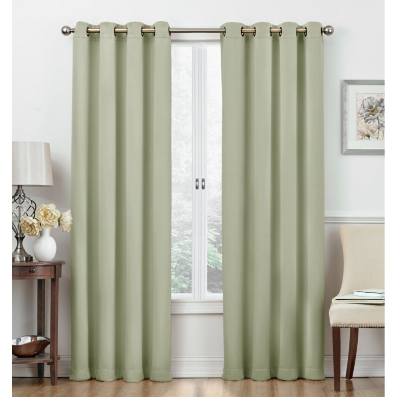 Frohna Top Window Solid Blackout Thermal Grommet Curtain Panels Within Silvertone Grommet Thermal Insulated Blackout Curtain Panel Pairs (#19 of 35)