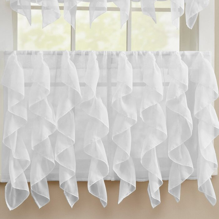 Fulgham Chic Sheer Voile Vertical Cafe Curtain Inside Sheer Voile Waterfall Ruffled Tier Single Curtain Panels (#16 of 50)