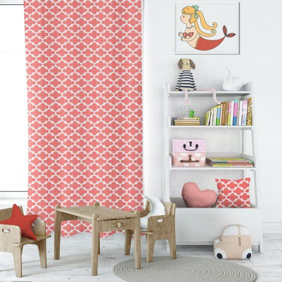 Fulton Coral Curtains For Kids, Bohemian Curtains, Playroom Pertaining To Riley Kids Bedroom Blackout Grommet Curtain Panels (#10 of 28)