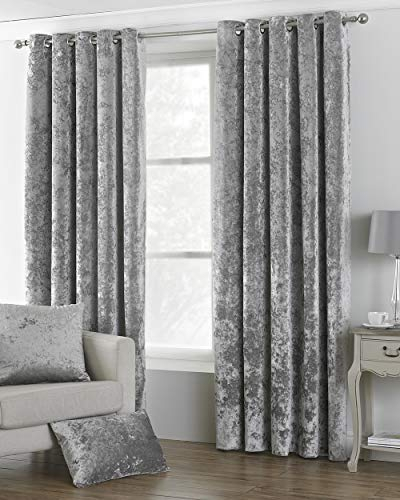 Fusion – Jeannie – Ready Made Lined Pencil Pleat Curtains In Silvertone Grommet Thermal Insulated Blackout Curtain Panel Pairs (View 35 of 35)