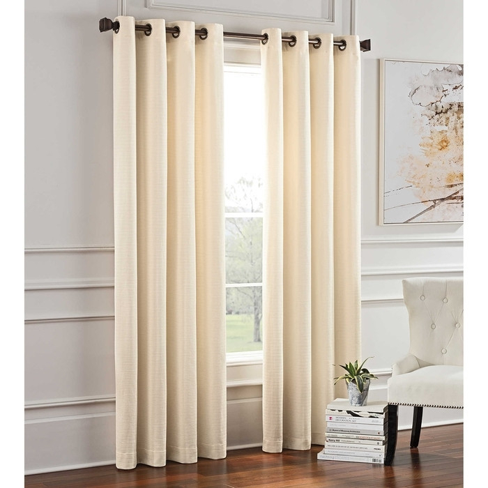 "Garland 95"" Lined Grommet Top Room Darkening Curtain Panel Ivory With Regard To Lined Grommet Curtain Panels (#14 of 31)"