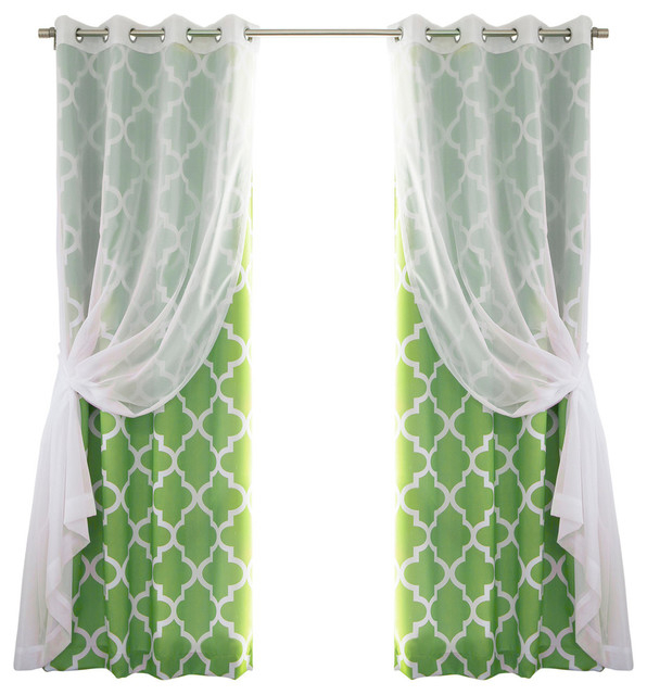 Gathered Sheer Voile And Moroccan Tile 4 Piece Curtain Set, Green Intended For Edward Moroccan Pattern Room Darkening Curtain Panel Pairs (View 17 of 50)