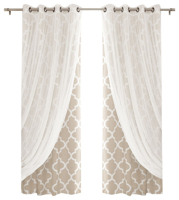 Gathered Tulle And Moroccan Trellis 4 Piece Darkening Curtain Set, Beige Throughout Edward Moroccan Pattern Room Darkening Curtain Panel Pairs (View 18 of 50)