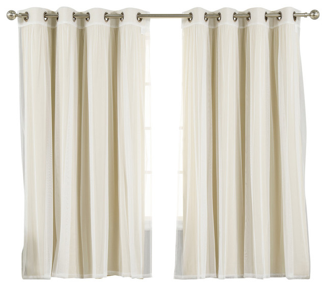 "Gathered Tulle Sheer And Blackout 4 Piece Curtain Set, Beige, 63"" In Forest Hill Woven Blackout Grommet Top Curtain Panel Pairs (#21 of 45)"
