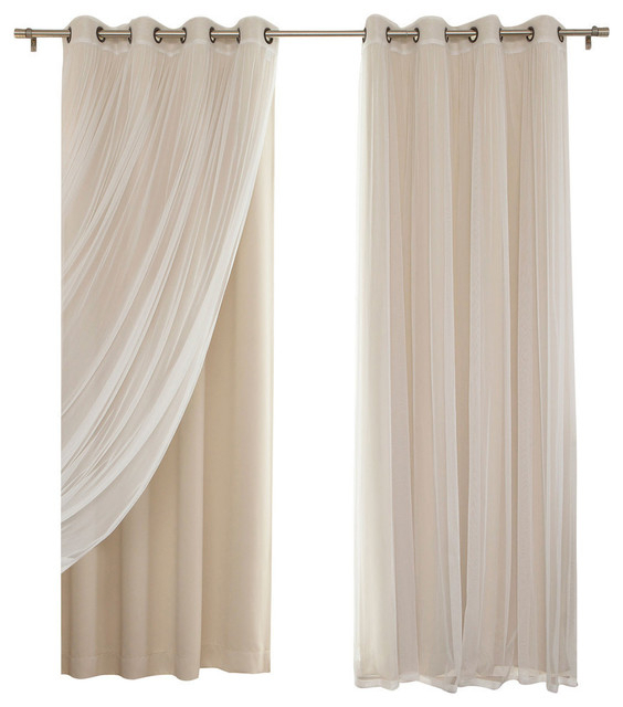 "Gathered Tulle Sheer And Blackout 4 Piece Curtain Set, Beige, 84"" Throughout Mix & Match Blackout Tulle Lace Bronze Grommet Curtain Panel Sets (View 10 of 50)"