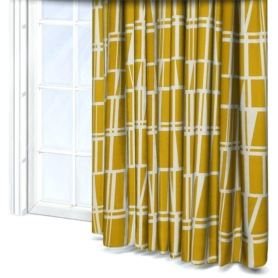 Geo Print Curtains Yellow Curtain Fabric Uk – Andrewdm With Regard To Mecca Printed Cotton Single Curtain Panels (View 37 of 50)