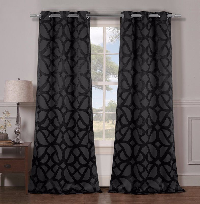 Geometric Blackout Grommet Curtain Panels | Ravenswood Rd Regarding Overseas Leaf Swirl Embroidered Curtain Panel Pairs (View 7 of 50)