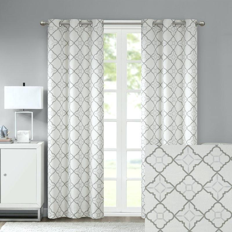 Geometric Pattern Curtain – Bouedu For Geometric Linen Room Darkening Window Curtains (View 22 of 50)