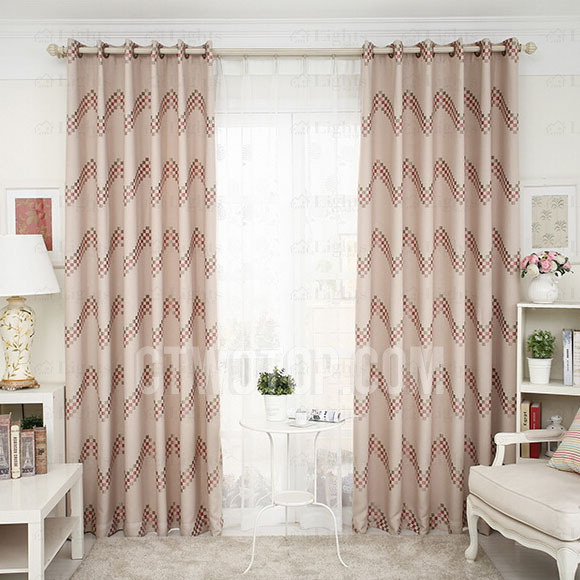 Geometric Pattern Faux Linen Simple Curtains Room Darkening For Geometric Linen Room Darkening Window Curtains (View 25 of 50)