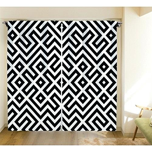 Geometric Print Curtains – Alexandraschoolofmotoring With Geometric Linen Room Darkening Window Curtains (View 26 of 50)