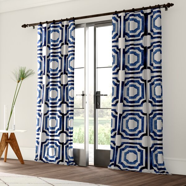 Geometric Print Curtains | Wayfair With Regard To Fretwork Print Pattern Single Curtain Panels (View 11 of 46)