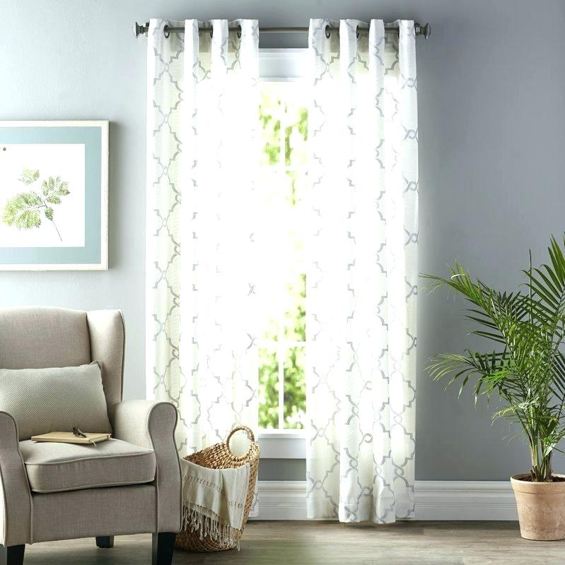 Geometric Sheer Grommet Single Curtain Panel Curtains Semi Pertaining To Wavy Leaves Embroidered Sheer Extra Wide Grommet Curtain Panels (#23 of 50)