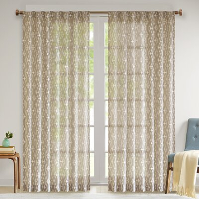 George Oliver Calais Geometric Sheer Tab Top Single Curtain With Tab Top Sheer Single Curtain Panels (#17 of 50)
