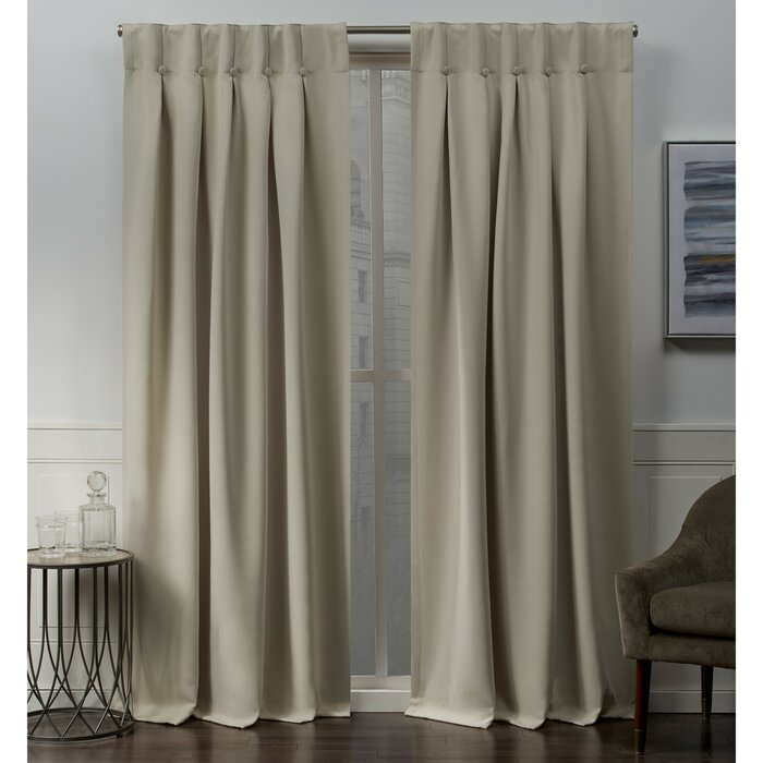 Godalming Sateen Button Solid Room Darkening Thermal Tab Top Curtains Within Sateen Woven Blackout Curtain Panel Pairs With Pinch Pleat Top (#11 of 40)