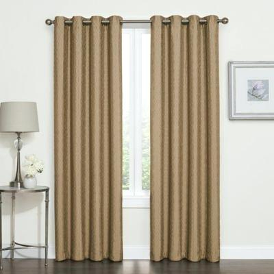 Gold Blackout Curtains Blackout Grommet Top Window Curtain In Total Blackout Metallic Print Grommet Top Curtain Panels (View 25 of 50)